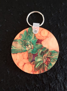Succulent Bouquet Round Wood Key Chain