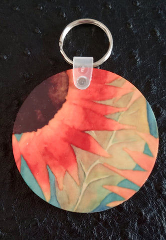 Sunflower Field Round Wood Key Chain