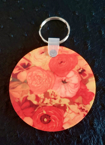 Sunset Poppy Bouquet Round Wood Key Chain