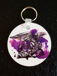 Dragon on Purple Paint Round Acrylic Key Chain