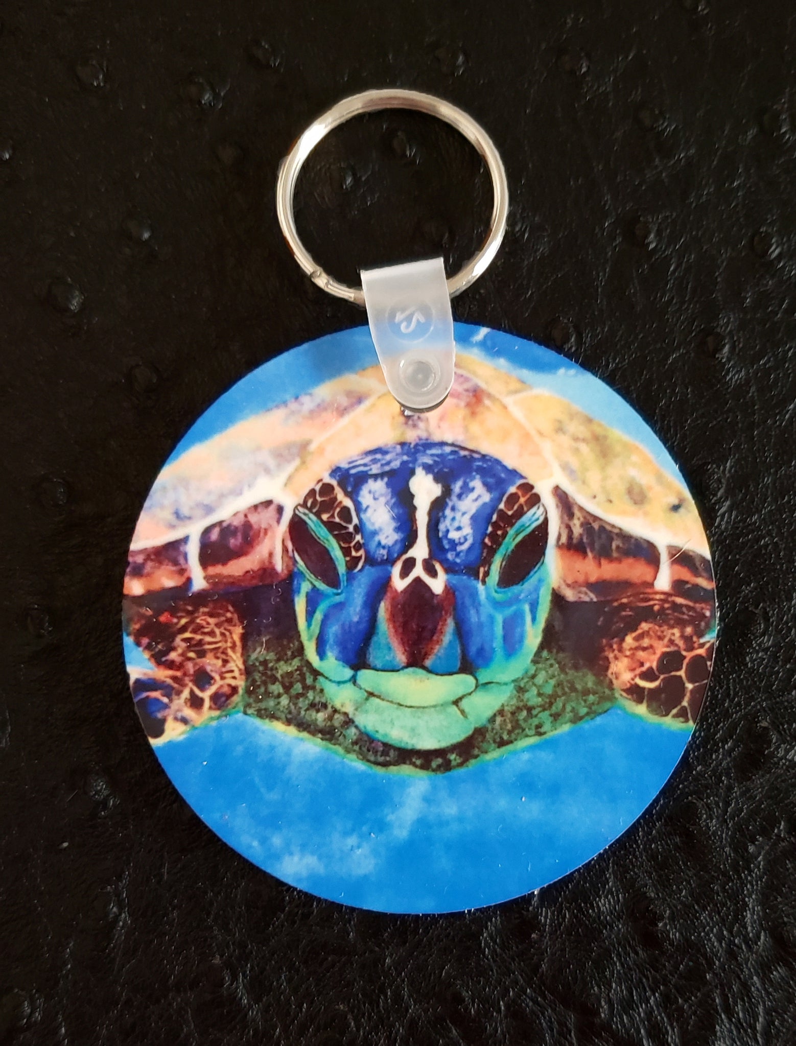 Nosey Sea Turtle Round Acrylic Key Chain
