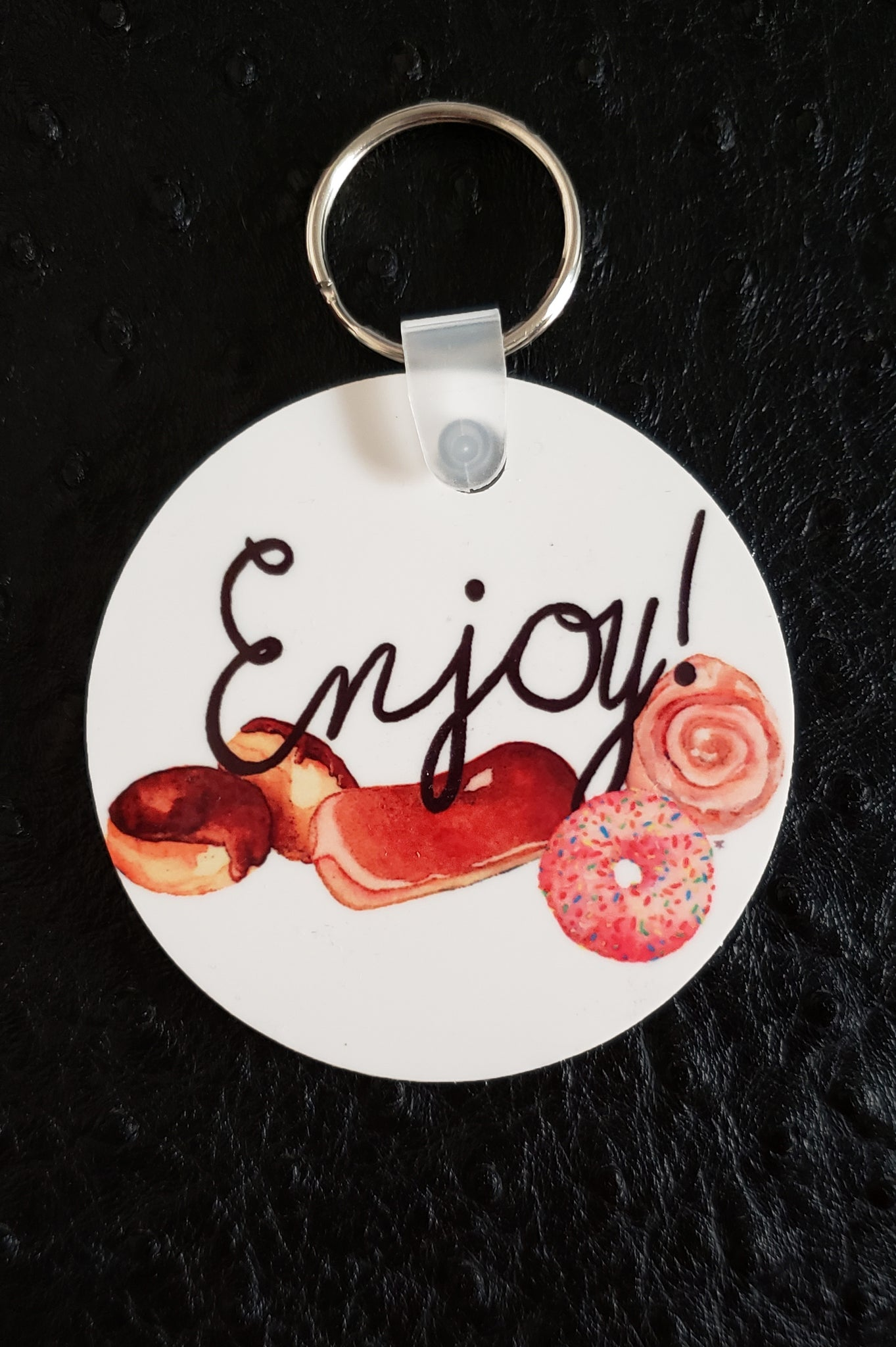 Enjoy All the Donuts Round Acrylic Key Chain