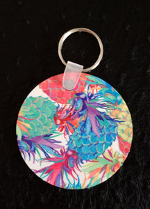 How About Them Pineapples Round Acrylic Key Chain