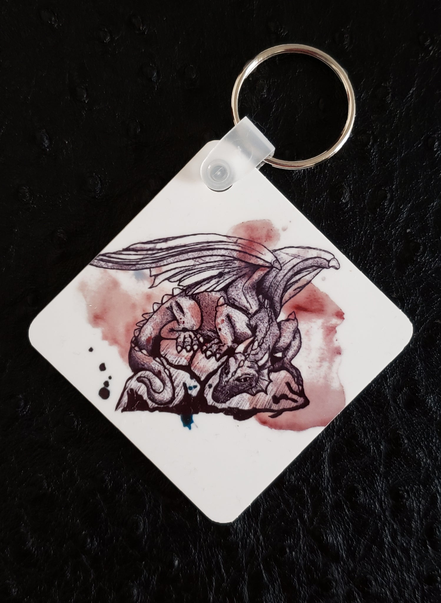 Dragon on Paint Square Acrylic Key Chain