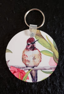 Hummingbird (Ruby) Round Acrylic Key Chain