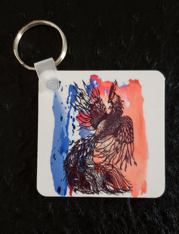 Phoenix on Paint Square Acrylic Key Chain