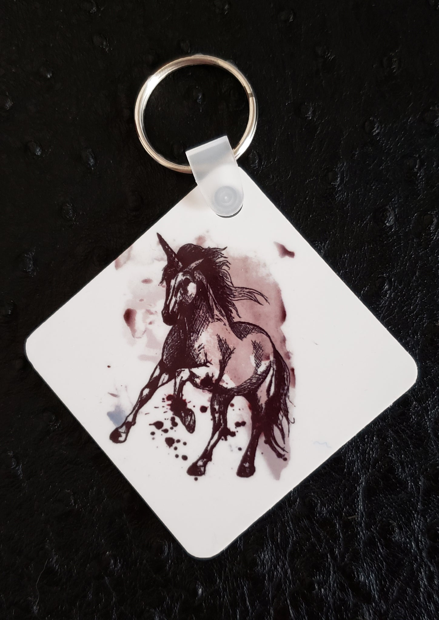 Unicorn on Paint Square Acrylic Key Chain