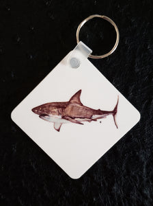 Great White Shark Square Acrylic Key Chain