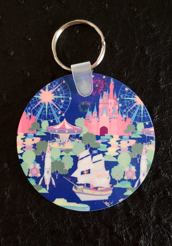 Happiest Place on Earth Round Acrylic Key Chain