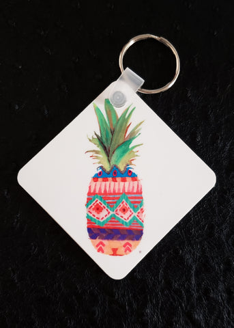 Patterned Pineapple Square Acrylic Key Chain