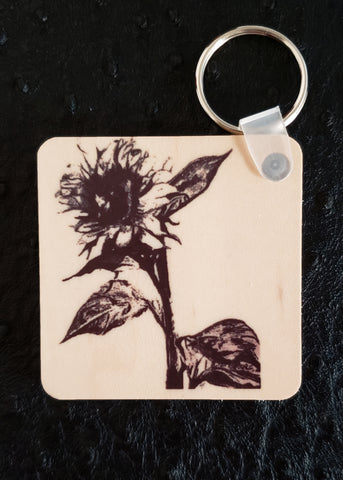 Sunflower Square Wood Key Chain