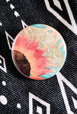 Sunflower Field Button Pin