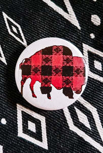Buffalo Gals Buffalo Plaid Buffalo Red Button Pin