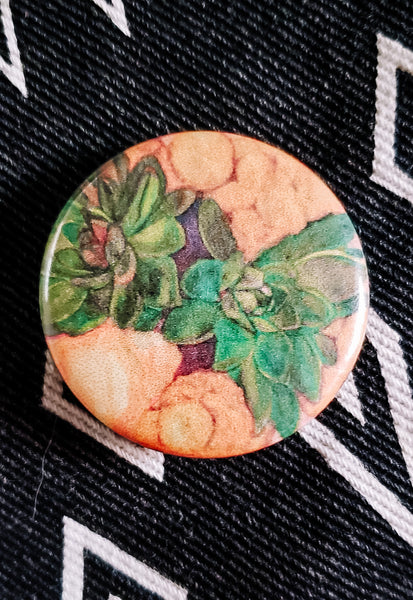 Succulent Bouquet Button Pin