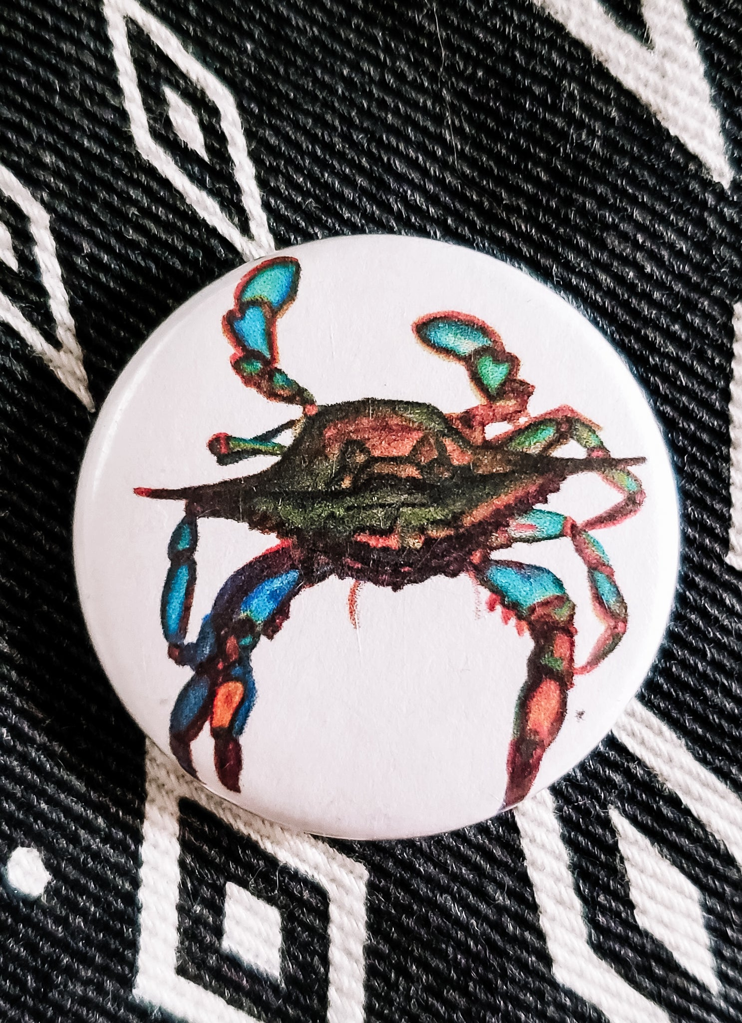 Blue Crab Button Pin