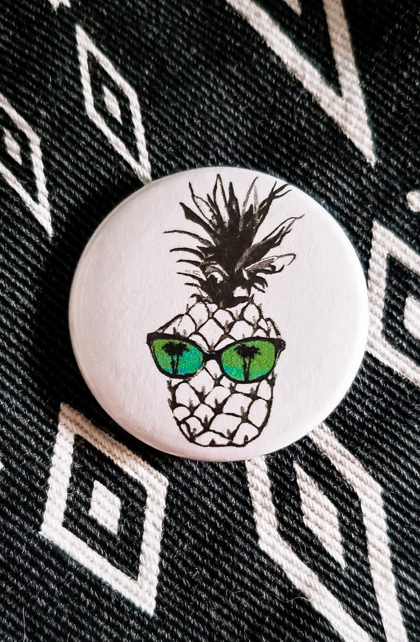 Hot Pineapple in Green Button Pin