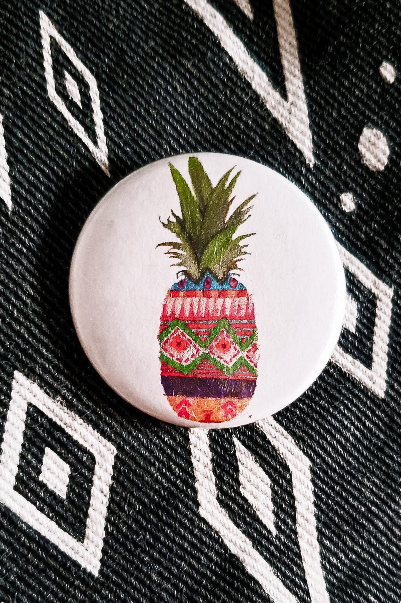 Patterned Pineapple Button Pin