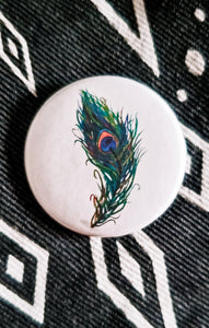 Peacock Feather Button Pin