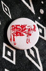 Paisley Cow Button Pin