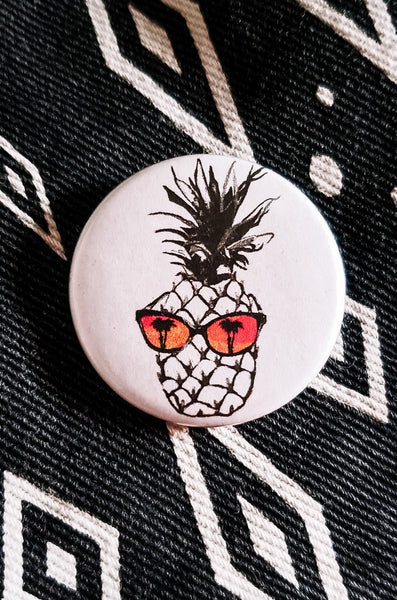 Hot Pineapple in Orange Button Pin