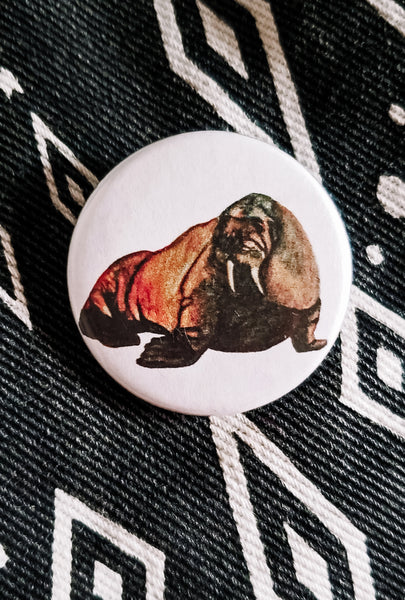 Walrus Button Pin
