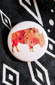 Sunset Poppy Button Pin