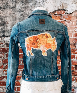 Sunset Poppy Jean Jacket