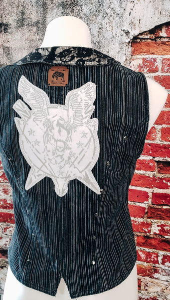 Steampunky Flying Buffalo Jean Vest