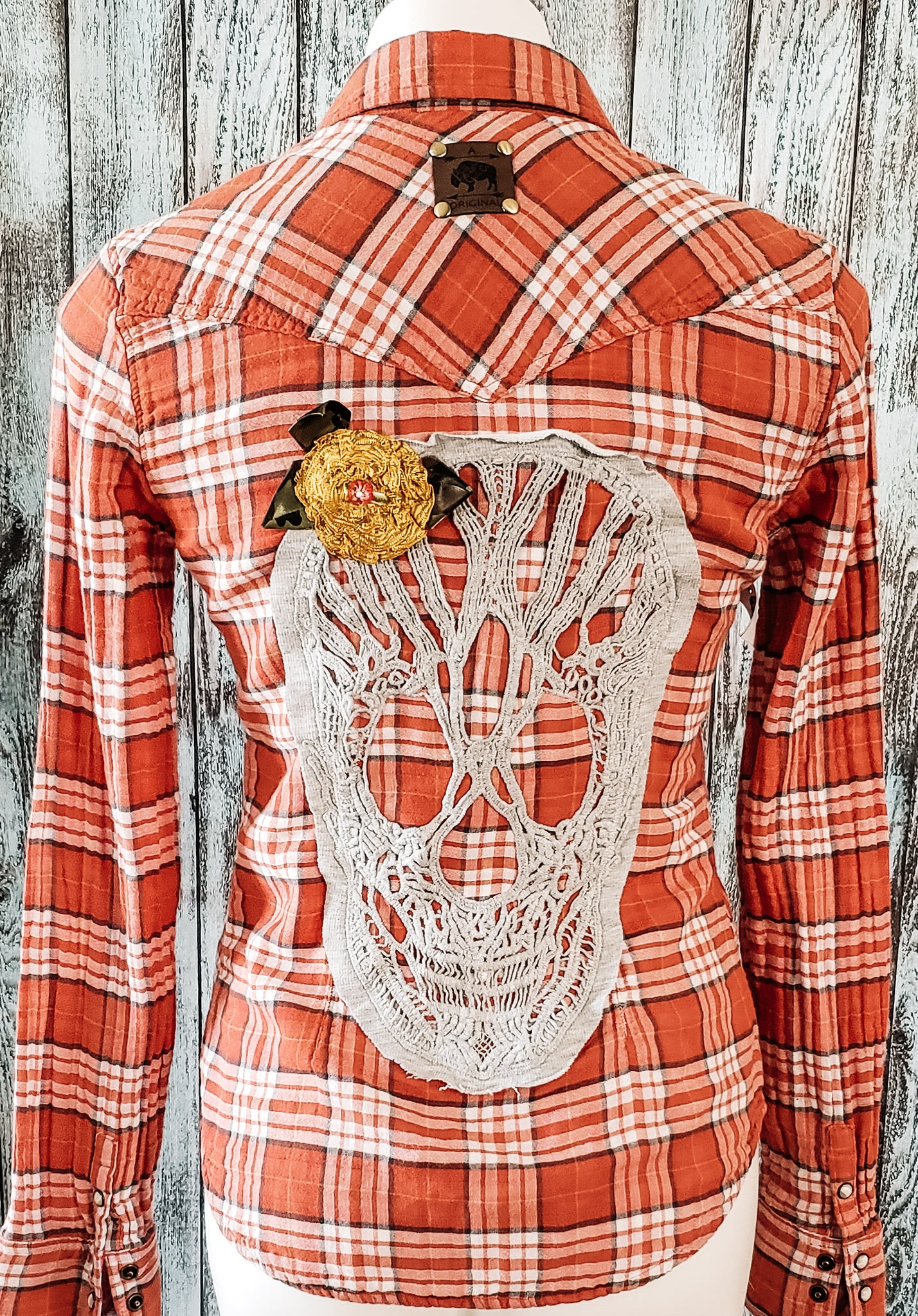 Sugar Skull Plaid Flannel Shirt