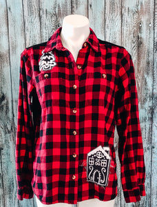Gingerbread House Red Buffalo Plaid Flannel Shirt