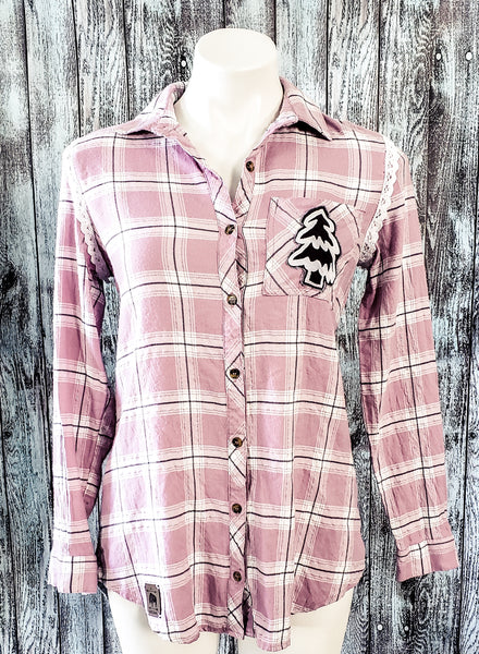 Gingerbread Home Lilac Plaid Flannel Shirt