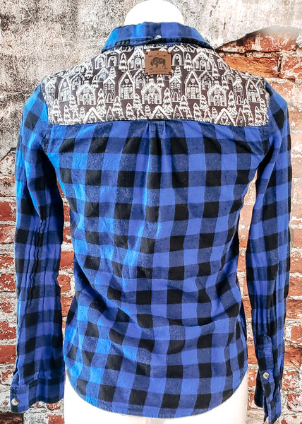 Gingerbread Village Blue Buffalo Plaid Flannel Shirt