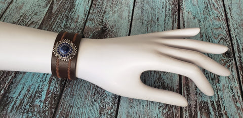 Brown and Blue Cuff Bracelet