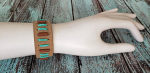 Beads and Leather Cuff Bracelet