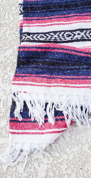Pink and Royal Blue Mexican/Falsa Blanket