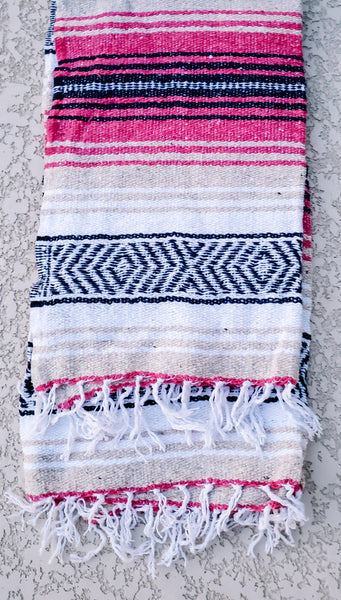 Hot Pink and Beige Mexican/Falsa Blanket