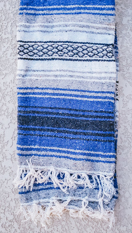 Royal Blue and Grey Mexican/Falsa Blanket
