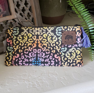 Ode to Lisa Frank Leopard Zipper Pouch with Periwinkle Tassel