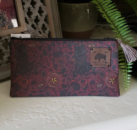 Western Paisley Zipper Pouch with Taupe Tassel