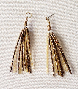 Gold Beads Tassel Earrings