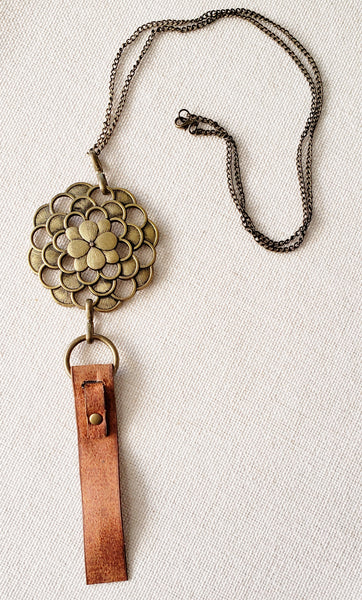 Faux Leather Tag Necklace