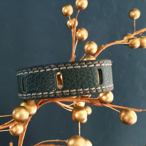 Notched Black Leatherette Cuff Bracelet