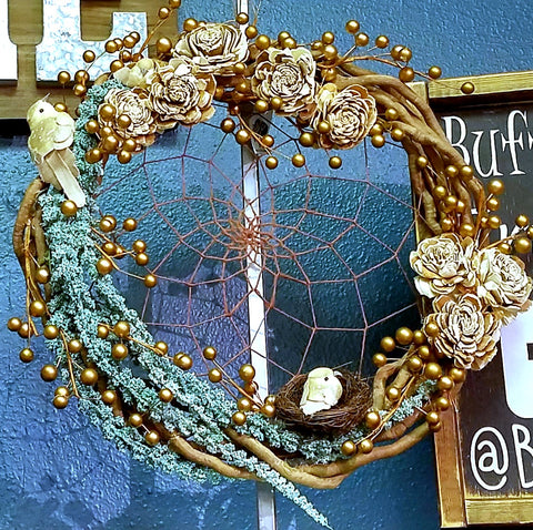 Wood Rose Wreath Dream Catcher