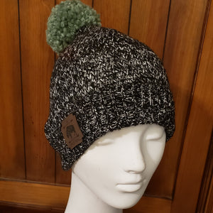 Sparkly Gunmetal Grey Sweater Beanie with Sage Pom