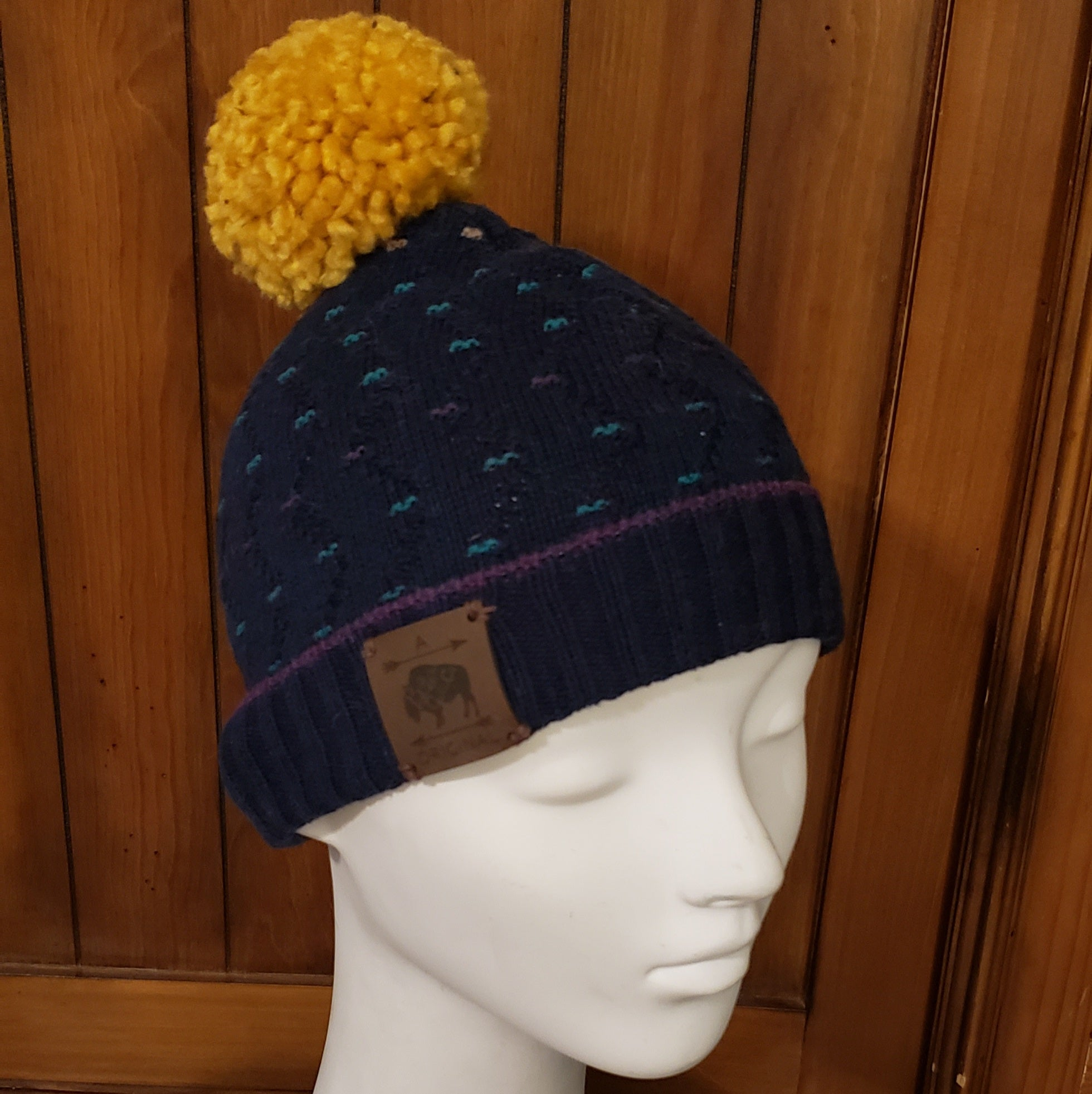 Dashed Navy Sweater Beanie with Gold Pom