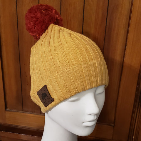 Mustard Sweater Beanie with Rust Pom