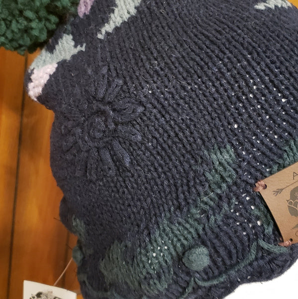 Navy Floral Sweater Beanie with Forest Green Pom