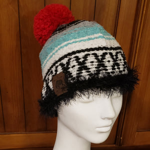 Turquoise Mexican Blanket Beanie with Red Pom