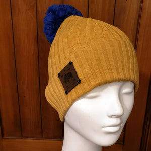 Mustard Sweater Beanie with Speckled Royal Cobalt Pom