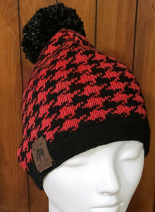 Red Checks Sweater Beanie with Dark Grey Pom
